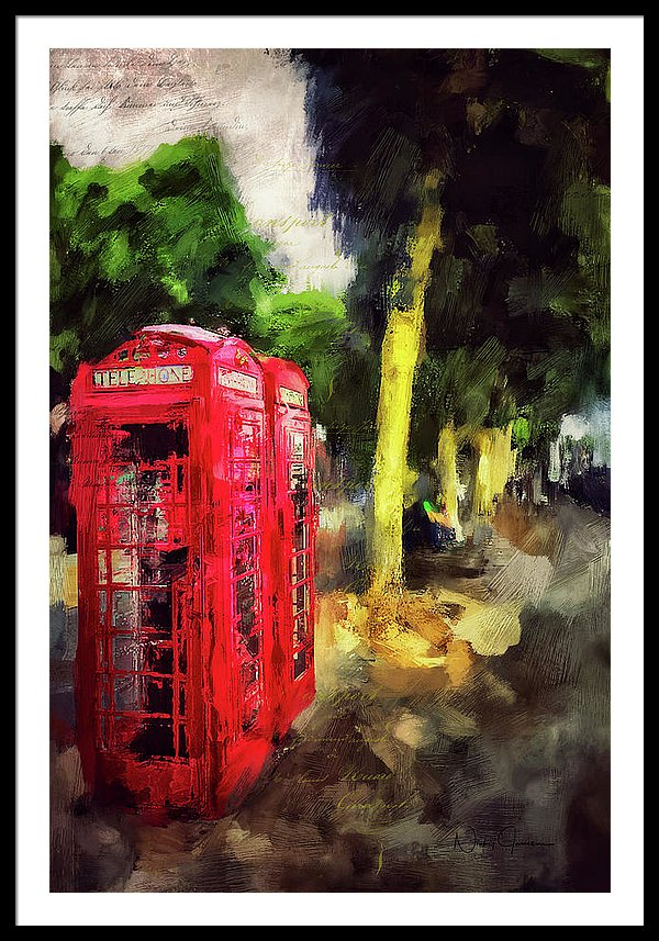 Red Telephone Boxes on the Embankment - Framed Print