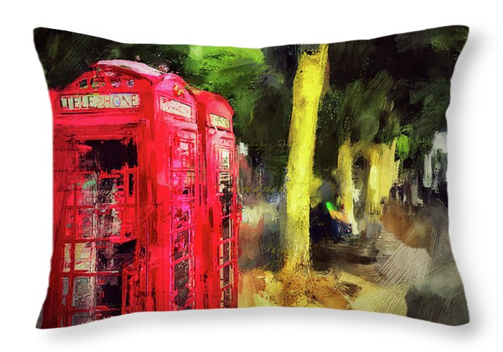 Red Telephone Boxes along the Embankment - Throw Pillow