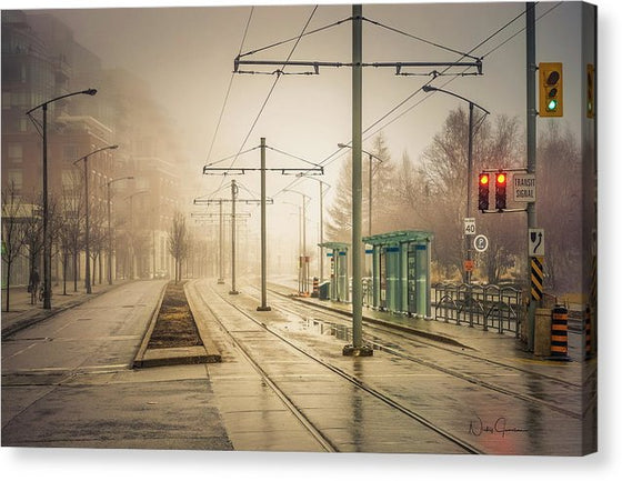 Fog Deserted Street - Canvas Print