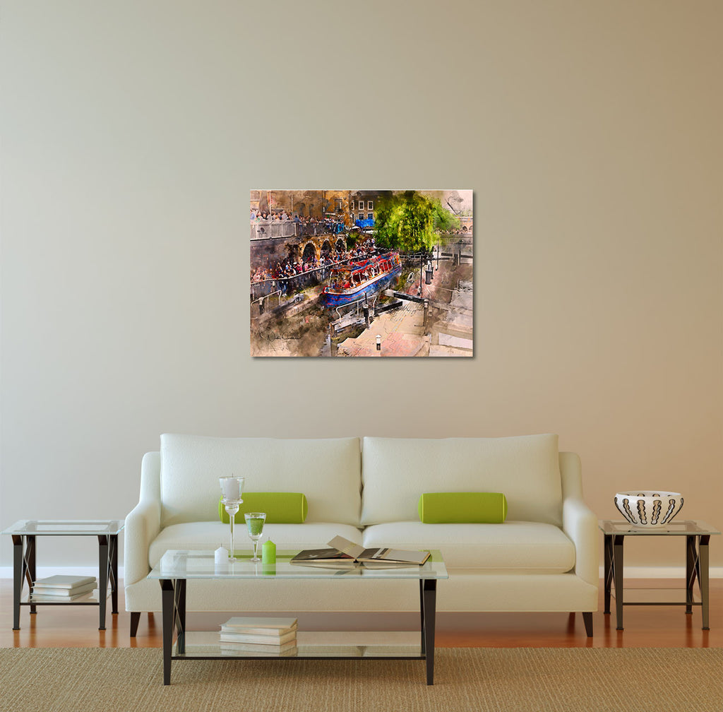 "Saturday Afternoon at Camden Lock - 40x30"" shown On Wall Canvas Print"