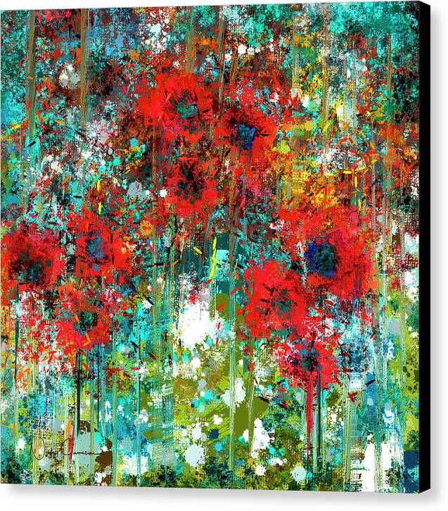 poppies in a field by Nicky Jameson, mixed media