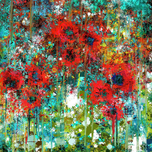 Abstract 6 Poppies in a Field - Art Print