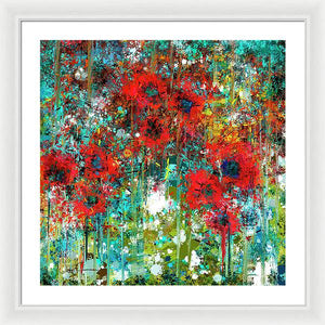 Poppies in a Field - Framed Print