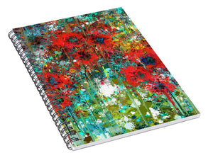Abstract 6 Poppies in a Field - Spiral Notebook