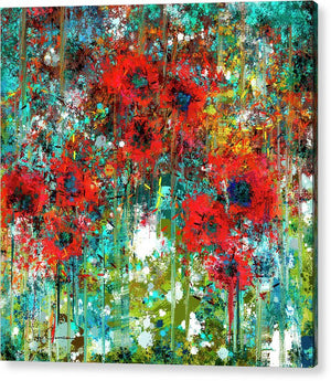 Poppies in a Field - Acrylic Print