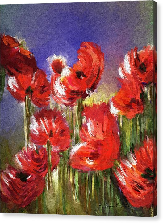 Abstract Poppies, Lest We Forget, Canvas painting