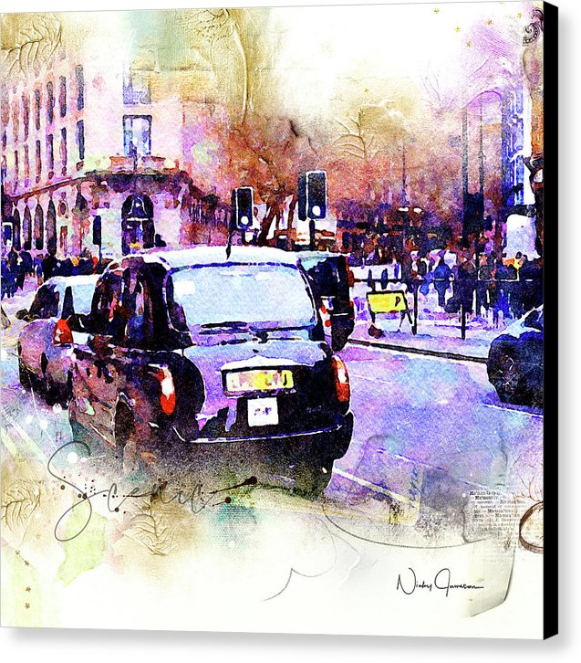 Black Cab on Streets of London - Canvas Print