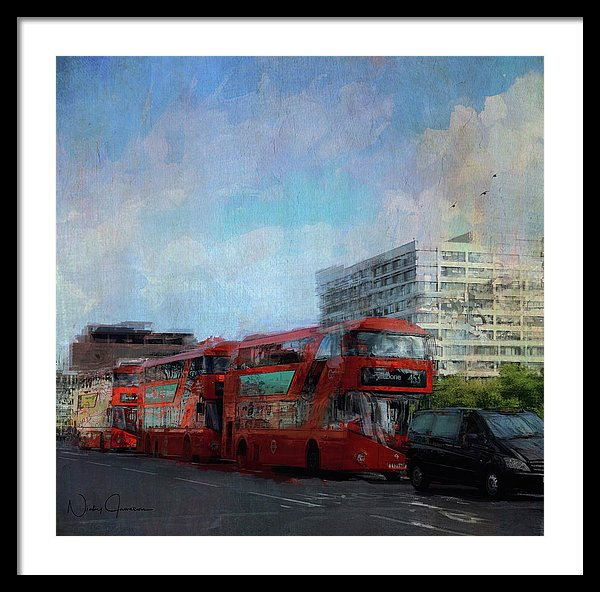 Buses On Westminster Bridge - Framed Print