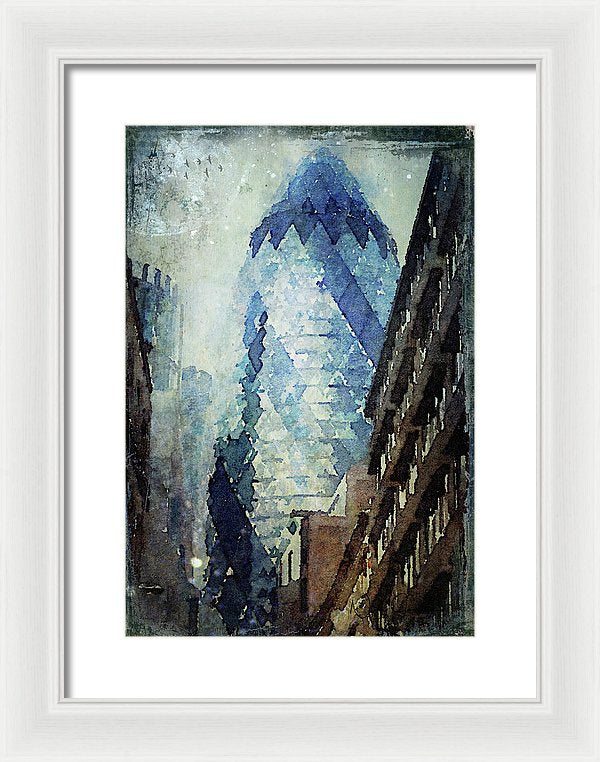 City Blue London Gherkin, Watercolour,London art wall