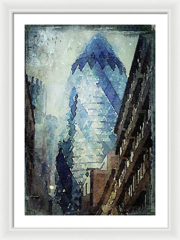 City Blue -  The Gherkin London Framed Print