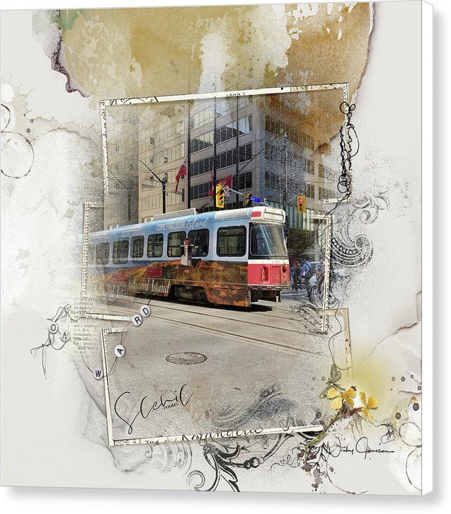 Downtown On King Street - Street Cars Canvas Print