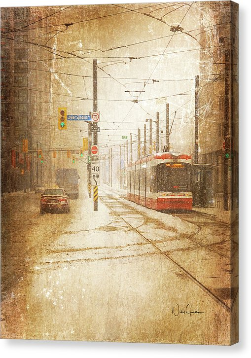 toronto winter art downtown snow with streetcar