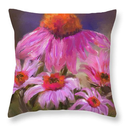 Happy Flowers - Throw Pillow