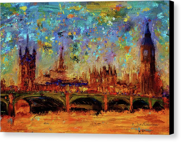 Houses of Parliament and Westminster Bridge - Canvas Print