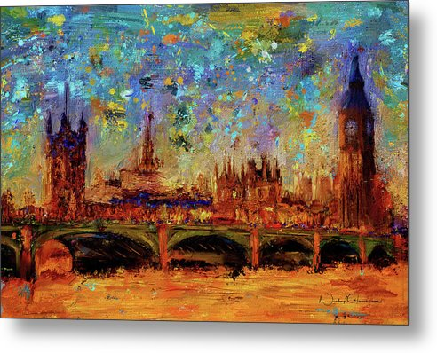 Houses of Parliament and Westminster Bridge - Metal Print