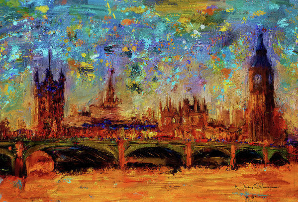 Houses of Parliament and Westminster Bridge - Art Print