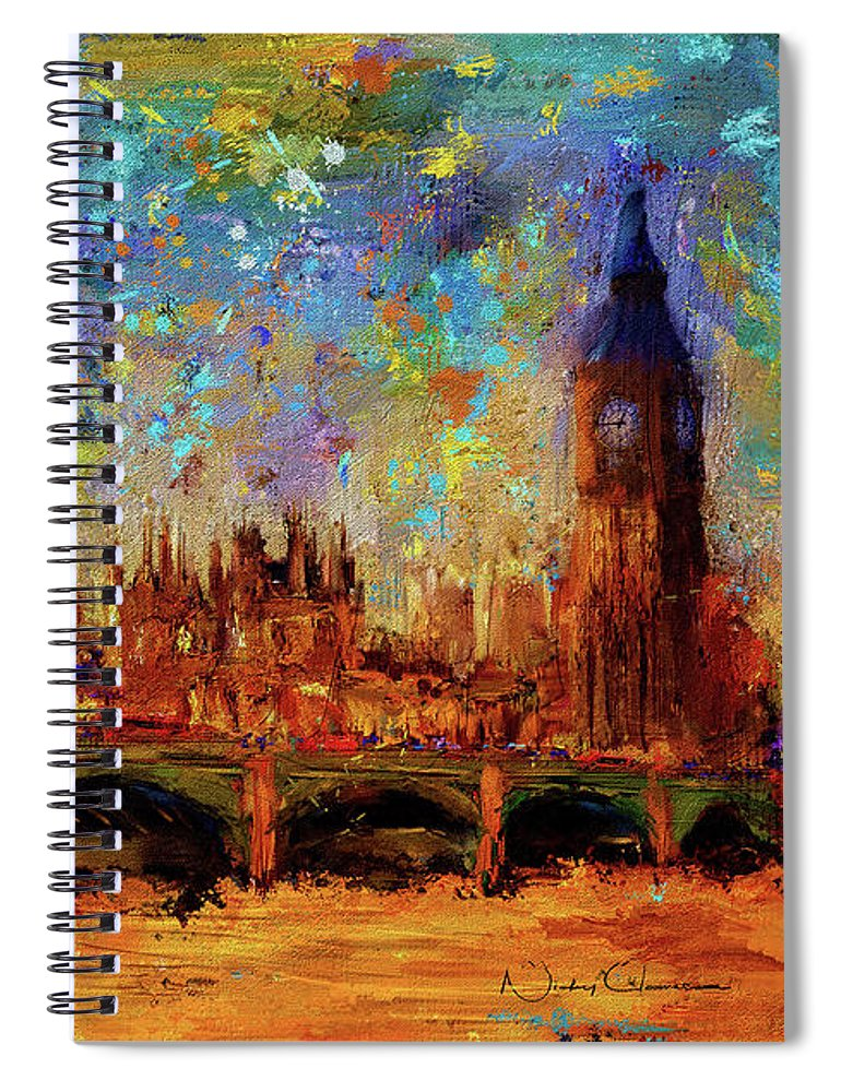 Houses of Parliament and Westminster Bridge - Spiral Notebook