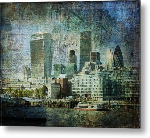 London Skyline Key Of Blue - Metal Print