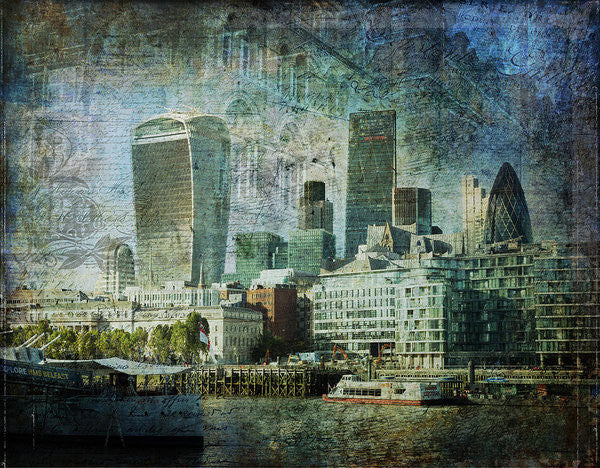 London Skyline Key Of Blue - Art Print