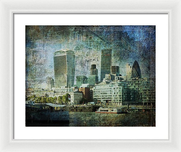 London Skyline Key Of Blue - Framed Print