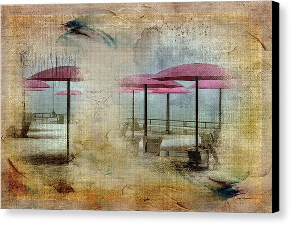 Pink Parasols On Sugar Beach - Canvas Print
