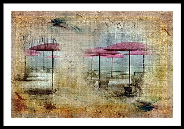 Pink Parasols On Sugar Beach - Framed Print