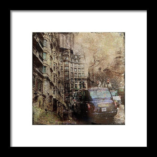 rainy day london, framed print
