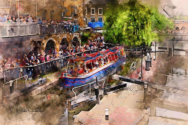 Saturday Afternoon At Camden Lock - Art Print