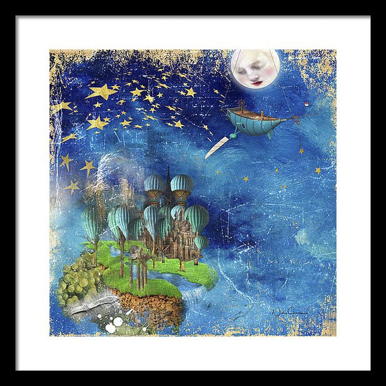 Star Fishing in a Mystical Land Whimsical art print
