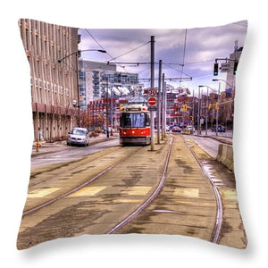 Streetcar And Sign - Throw Pillow