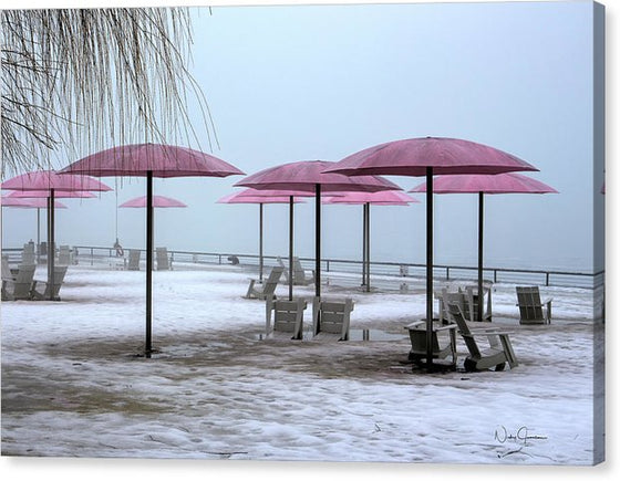 Sugar Beach Pink Parasols - Canvas Print