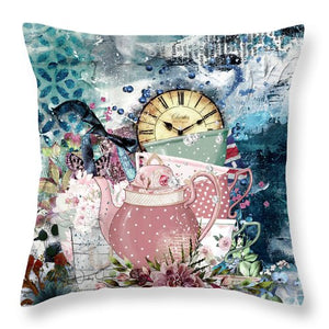 Tea Time Collage - Throw Pillow