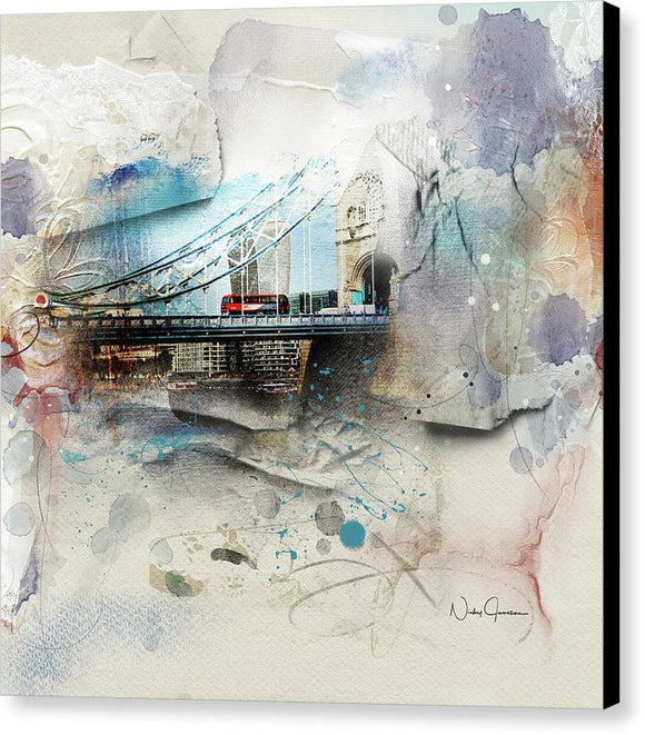 The Red Bus Crossing Tower Bridge - Canvas Print