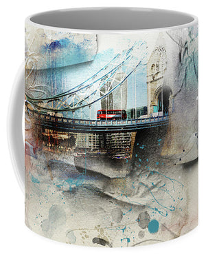 The Red Bus Crossing Tower Bridge - Mug