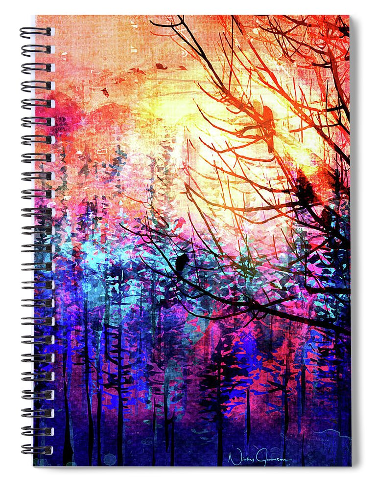 Trees at Sunrise - Spiral Notebook