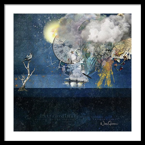 Up In The Clouds - Collage - Framed Print