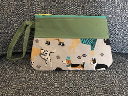 JRE Handmade Green Animal print Wristlet Handbag