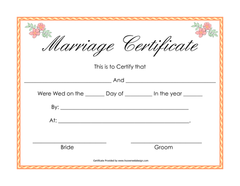Marriage Certificate (in 6-8 weeks)