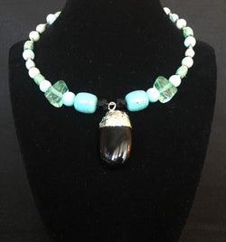 Turquoise, white, silver, black beads with black stone Necklace