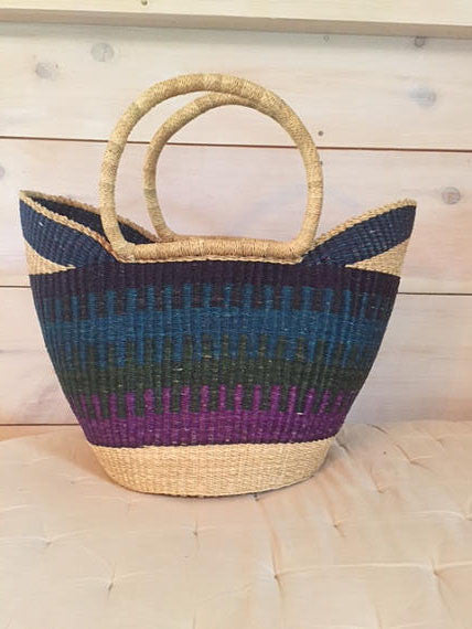 Bolga Market Basket V-Shape Purple, Green, Blue & Black