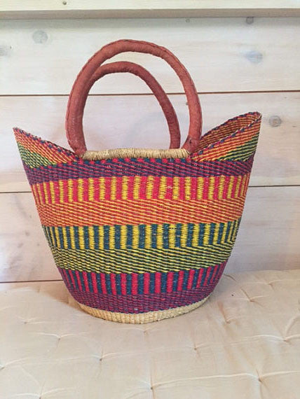 Bolga Market Basket V-Shape Multicolor with Leather Handles