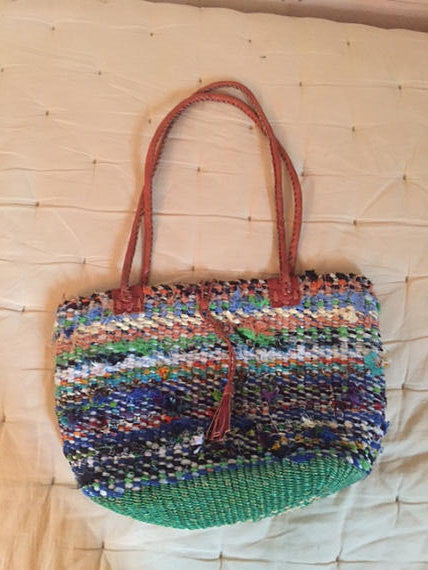 Bolga Market Basket V-Shape Rag & Straw Multicolor with Leather Handles
