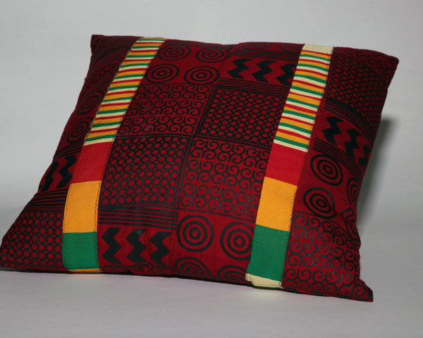 Red and Black Adinkra with Kente Oversized Decorative Pillow
