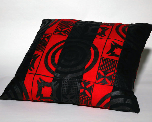 Red and Black Striped Adinkra Oversized Decorative Pillow