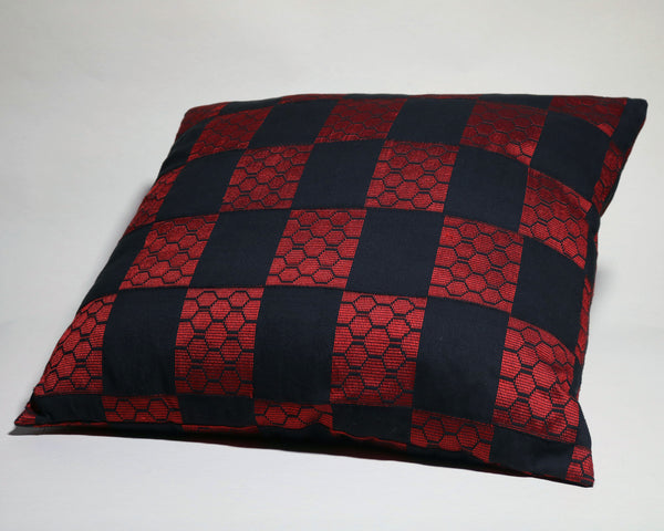 Red and Black Patterned Kente Oversized Decorative Pillow