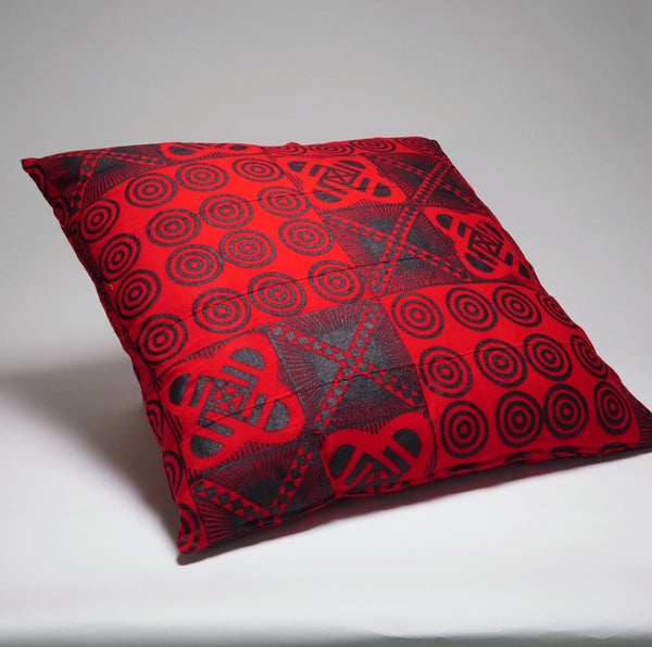 Red and Black Stamped Adinkra Oversized Decorative Pillow