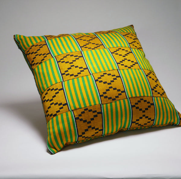 Yellow, Gold, Green & Black Kente Pillow