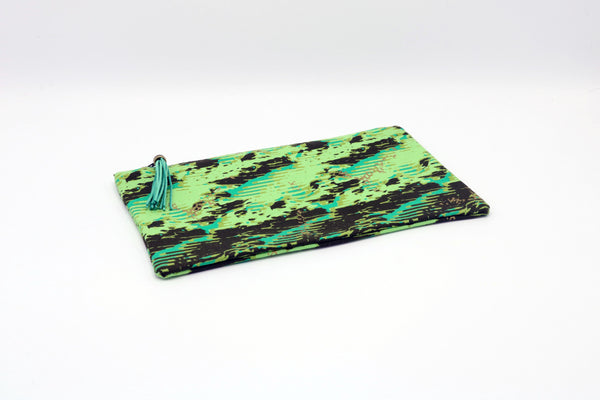 GREEN & GOLD EXOTIC STAMPED SATEEN POUCH