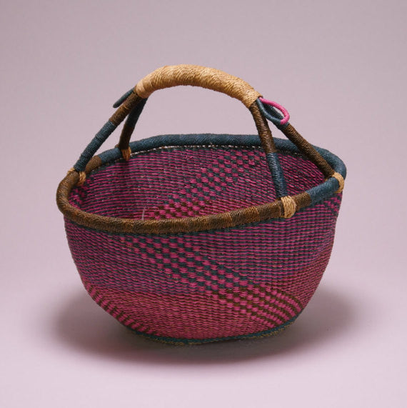Bolga Market Basket Turquoise, Brown, Pink & Natural