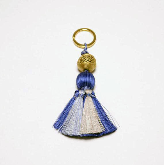 Brass Medium Bead Key Chain or Purse Accessory with Silk Tassel